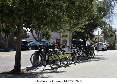 LOS ANGELES, CA/USA - JULY 10, 2019: Metro Ride Sharing Bicycles near the Metro Station on Vermont Street