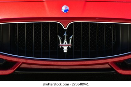 LOS ANGELES, CA/USA - JULY 11, 2015: Maserati automobile grille. Maserati is an Italian luxury car manufacturer.