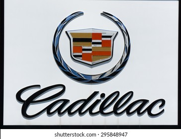 LOS ANGELES, CA/USA - JULY 11, 2015: Cadillac sign and logo. Cadillac is an American luxury automaker.