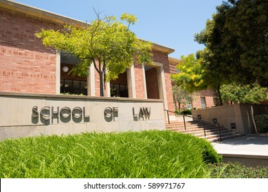 LOS ANGELES, CA/USA - July 16, 2016: UCLA School of Law sign. UCLA School of Law is located on the UCLA campus in Westwood, California.