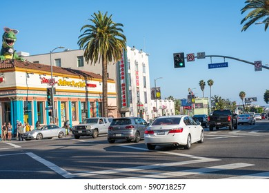 LOS ANGELES, CA/USA - July 16, 2016: A view of world famous Hollywood Boulevard.  Hollywood Blvd. is a very popular tourist destination in Los Angeles.