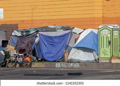 Los Angeles, CA/USA. July 24,2018. Homeless encampments are a growing epidemic  in the City of Los Angeles.