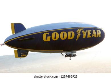 Los Angeles, CA/USA June 05,2011:  Good Year Blimp hovers over Los Angelea, California,