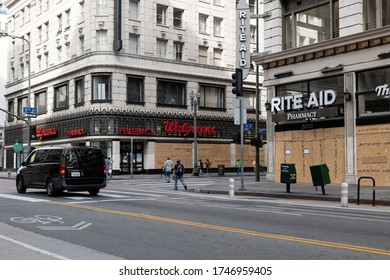 Los Angeles, CA/USA - June 1, 2020: Walgreens and Rite Ai  in downtown LA boarded up after the Black Lives Matter riots and looting on May 29th
