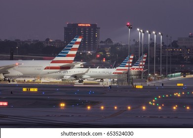 LOS ANGELES, CA/USA - JUNE 4, 2017: dusk scene at the Los Angeles International Airport. LAX is the busiest airport in California, and one of the largest in the US.