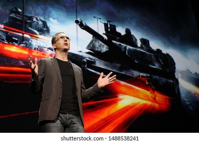Los Angeles, CA/USA: June 6, 2011- DICE general manager Karl Magnus Troedsson introduces 'Battlefield 3' during the 2011 EA E3 Press Conference in Los Angeles.