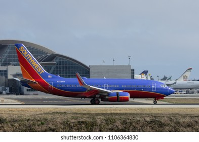 LOS ANGELES, CA/USA - JUNE 7, 2015: Southwest Airlines Boeing 737 (reg 937WN) shown shortly after landing at the Los Angeles International Airport. Southwest is the world's largest low-cost carrier.