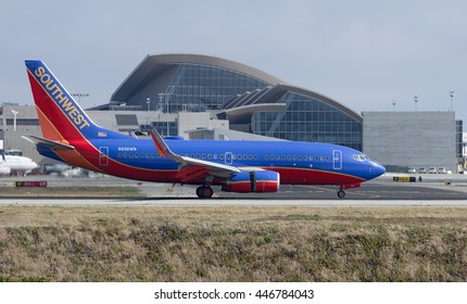 LOS ANGELES, CA/USA - JUNE 7, 2015: Southwest Airlines Boeing 737 (reg 937WN) shown shortly after landing at the Los Angeles World Airport. Southwest is the world's largest low-cost carrier.