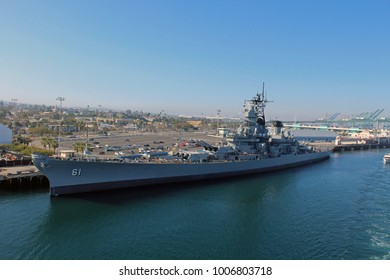 Los Angeles, CA/USA: March 12, 2017 – USS IOWA Museum docked in San Pedro Bay at dusk. Tourists visible on deck. USS Iowa was the only ship of her class in the Atlantic Ocean during World War II.