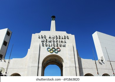 Los Angeles, CA/USA: March 19, 2017 - Los Angeles Memorial Coliseum is the first stadium to have hosted the Olympics twice, in 1932 and 1984. Los Angeles will again host the Summer Olympics in 2028.