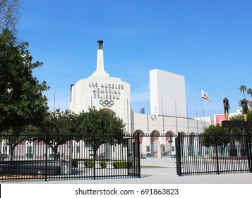 Los Angeles, CA/USA: March 19, 2017 - Los Angeles Memorial Coliseum is the first stadium to have hosted the Olympics twice, in 1932 and 1984. Los Angeles will again host the Summer Olympics in 2028