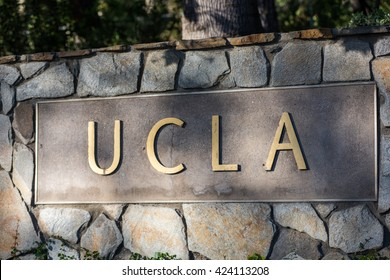 LOS ANGELES, CA/USA - March 21, 2016: UCLA sign at the University of California, Los Angeles.  UCLA is a public university located in the Los Angeles area.