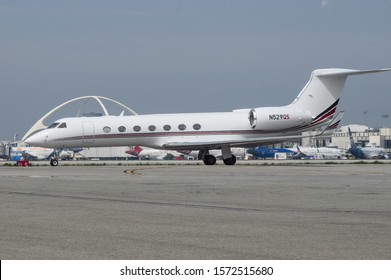 LOS ANGELES, CA/USA - MARCH 31, 2018: image of Gulfstream Aerospace GV-SP (G550) jet with registration N529QS shown taxiing at Los Angeles International Airport, LAX.