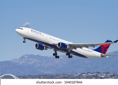 LOS ANGELES, CA/USA - MARCH 4, 2018: Delta Air Lines aircraft (Airbus A330) shown departing LAX to the JFK International Airport in New York.