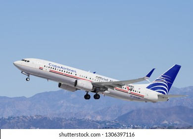 LOS ANGELES, CA/USA - MARCH 4, 2018: 'Official Airline SPFC' livery COPA Airlines Boeing 737 shown departing LAX to Panama City (PTY).