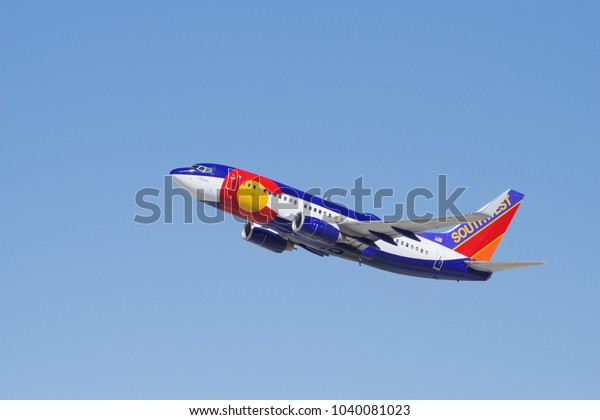 LOS ANGELES, CA/USA - MARCH 5, 2018: 'Colorado One' Southwest Airlines jet shown departing from LAX to Puerto  Vallarta in Mexico.