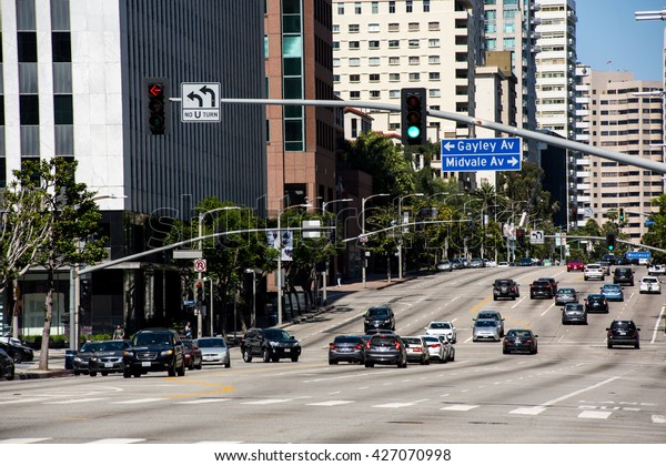 Los Angeles, CA/USA: May 10, 2016: View of Wilshire Blvd. in the Westwood area of Los Angeles.  Westwood is home to the University of California, Los Angeles campus.