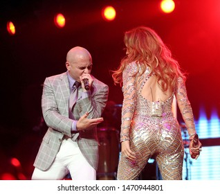 Los Angeles, CA/USA- May 15, 2010: Jennifer Lopez performs with rapper Pitbull during Wango Tango 2011 in Los Angeles.
