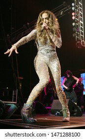 Los Angeles, CA/USA -  May 15, 2010: Jennifer Lopez performs with rapper Pitbull during Wango Tango 2011 in Los Angeles, California.