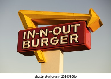 LOS ANGELES, CA/USA - MAY 24, 2015: Exterior Sign of an In-N-Out Burger restaurant. In-N-Out Burgers, Inc. is a regional chain of fast food restaurants with locations the United States Southwest.