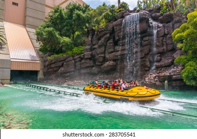 LOS ANGELES, CA/USA - MAY 24: The Jurassic park ride at Universal studios hollywood on May 24, 2015 in Los Angeles, CA, USA.