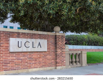 LOS ANGELES, CA/USA - MAY 25, 2015: Entrance sign to UCLA campus. UCLA is a public research university located in the Westwood neighborhood of Los Angeles, California, United States.