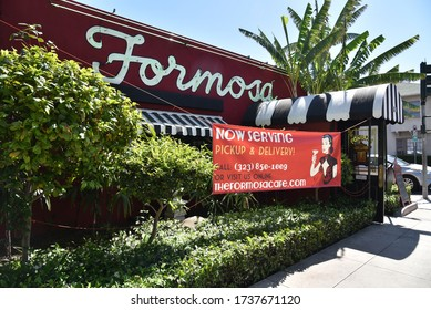 Los Angeles, CA/USA - May 4, 2020: Sign advertising take out food at the famous Formosa Restaurant during the coronavirus quarantine closure