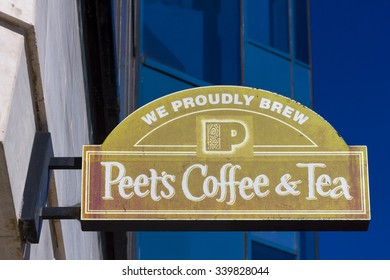LOS ANGELES, CA/USA - NOVEMBER 11, 2015: Peet's Coffee and Tea exterior and sign. Peet's Coffee is a San Francisco Bay Area based specialty coffee roaster and retailer.