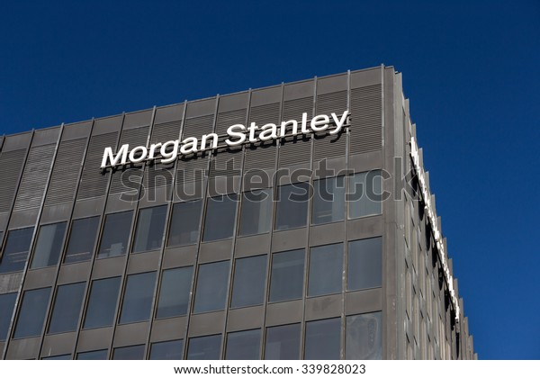 LOS ANGELES, CA/USA - NOVEMBER 11, 2015: Morgan Stanely building and logo. Morgan Stanley is an American multinational financial services corporation.