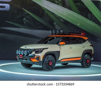 LOS ANGELES, CA/USA - NOVEMBER 20, 2019: A 2021 Kia Seltos X-Line Trail Attack concept SUV at the Los Angeles Auto Show.
