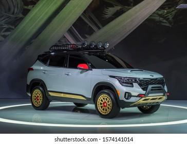 LOS ANGELES, CA/USA - NOVEMBER 20, 2019: A 2021 Kia Seltos X-Line Urban concept SUV at the Los Angeles Auto Show.