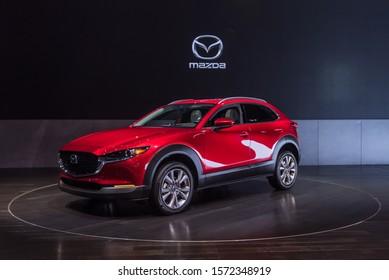 LOS ANGELES, CA/USA - NOVEMBER 21, 2019: A 2020 Mazda CX-30 crossover at the Los Angeles Auto Show.