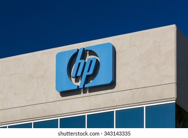 LOS ANGELES, CA/USA - NOVEMBER 22, 2015: Hewlett-Packard facility sign and logo.  HP is an American multinational information technology corporation.