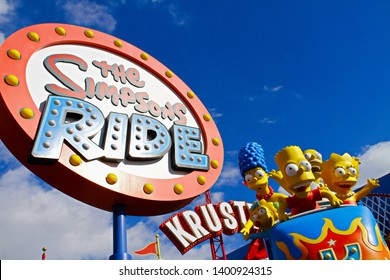 LOS ANGELES, CA/USA - OCT 29,2014: The Simpsons Ride at Universal studios Hollywood in Los Angeles. It is a theme park and film studio.