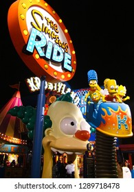 LOS ANGELES, CA/USA - OCT 29,2018: The Simpsons Ride at Universal studios hollywood in Los Angeles, CA, USA. It is a theme park and film studio.