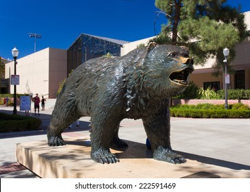 LOS ANGELES, CA/USA - OCTOBER 4, 2014: The Bruin Bear Statue at UCLA on the campus of UCLA. UCLA is a public research university located in the Westwood neighborhood of Los Angeles, California.