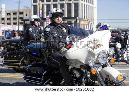 Los Angeles Chinatown, Feb 9th, 2008: Los Angeles Police Department Motocycle officers in the Chinese New Year Golden Dragon Parade.