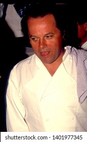 LOS ANGELES - circa 1991:  Celebrity chef Wolfgang Puck leaves his restaurant Spago.