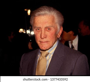 LOS ANGELES - circa 1991: Kirk Douglas leaves Spago restaurant.