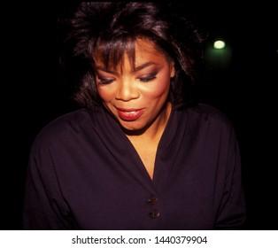 LOS ANGELES - circa 1991: Oprah Winfrey leaves Spago restaurant.