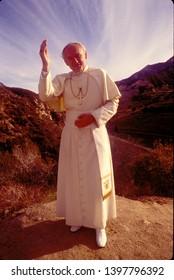 LOS ANGELES - circa 1991: Pope John Paul II lookalike, portrayed by actor Gene Greytak, who has made a Hollywood career portraying the Pontiff.