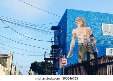 LOS ANGELES - CIRCA 2011:blue wall with Jim Morrisonat graffiti on the Venice Beach in Los Angeles, California, USA circa summer 2011.