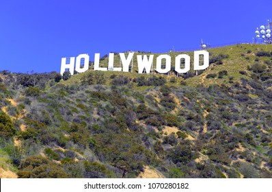 LOS ANGELES CIRCA APRIL 2018. Hollywood Sign in green hills of southern California, symbol of an industry shaken by claims of sexual harassment highlighted by the fall of Harvey Weinstein