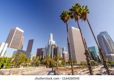 LOS ANGELES - CIRCA AUGUST 2018: Downtown skyline buildings