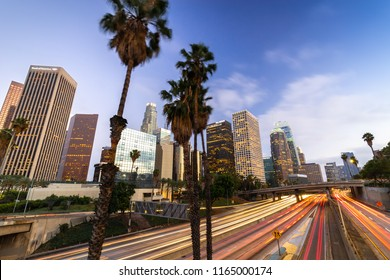 LOS ANGELES - CIRCA AUGUST 2018: Downtown skyline evening