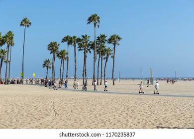LOS ANGELES - CIRCA AUGUST 2018: Santa Monica beach