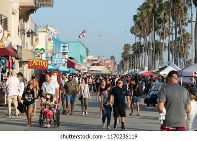 LOS ANGELES - CIRCA AUGUST 2018: Venice Beach boardwalk