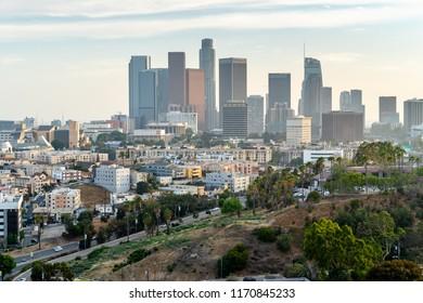 LOS ANGELES - CIRCA AUGUST 2018: Downtown buildings skyline