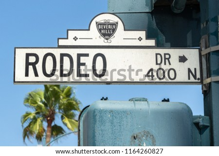 LOS ANGELES - CIRCA AUGUST 2018: Rodeo Drive street sign
