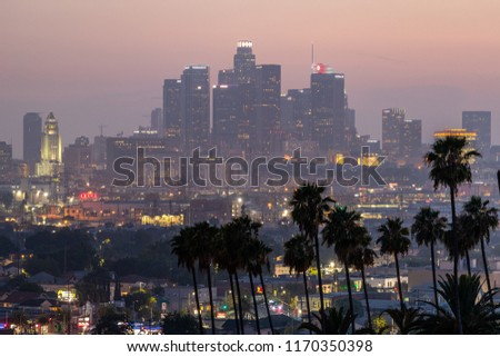 LOS ANGELES - CIRCA AUGUST 2018: Downtown buildings skyline evening